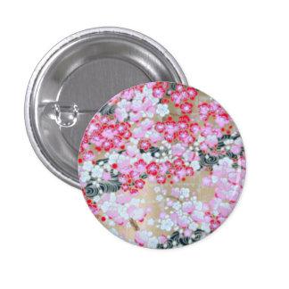 Flores rosadas, blancas y rojas pin redondo 2,5 cm