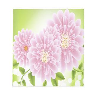 Flores rosadas bloc de papel
