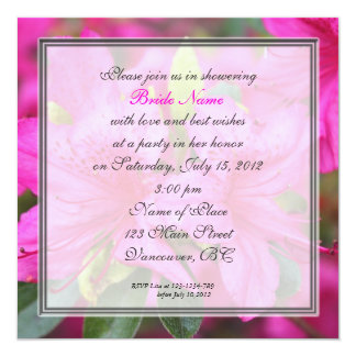 flores rosadas bonitas de la azalea de la ducha invitación 13,3 cm x 13,3cm