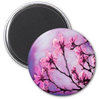 Flores rosadas bonitas imán redondo 5 cm