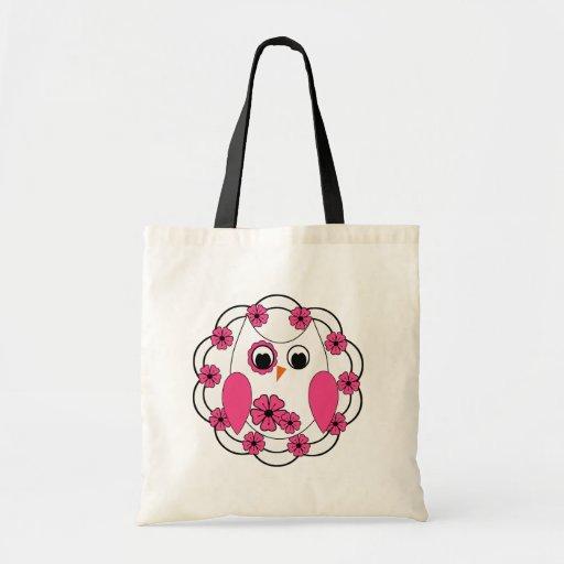 Flores rosadas bonitas y búho blanco bolsas de mano