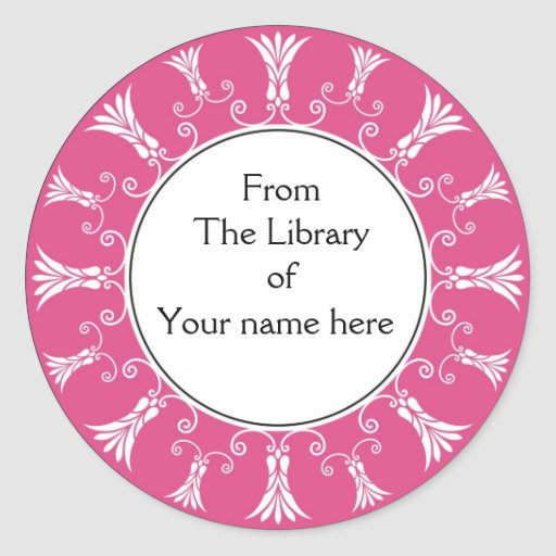 Flores rosadas Bookplate-Calientes del Flourish Pegatina Redonda