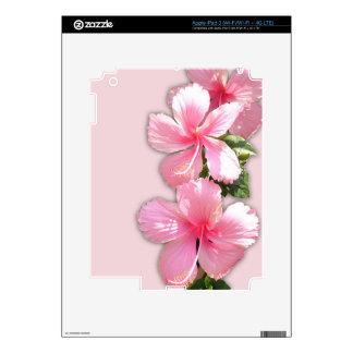 Flores rosadas brillantes del hibisco iPad 3 pegatina skin