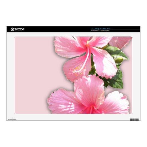 Flores rosadas brillantes del hibisco portátil 43,2cm skin