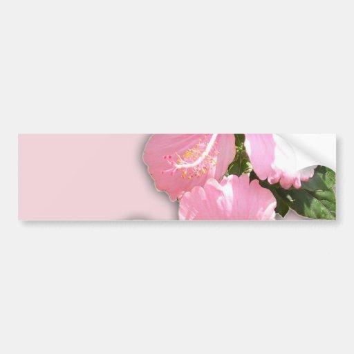 Flores rosadas brillantes del hibisco pegatina para auto