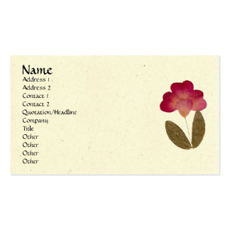 Flores rosadas brillantes presionadas del tubo tarjetas de visita