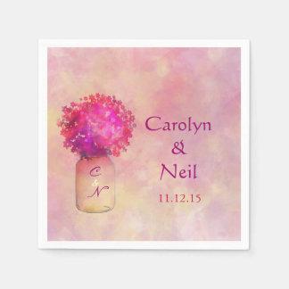 Flores rosadas caprichosas de Masonjar que casan s