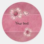 Flores rosadas caprichosas pegatina redonda