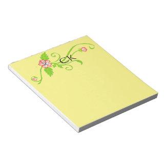 Flores rosadas con la libreta personalizada vid blocs