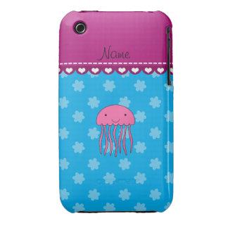 Flores rosadas conocidas personalizadas del azul iPhone 3 Case-Mate cárcasas