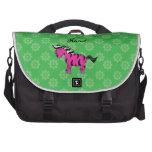 Flores rosadas conocidas personalizadas del verde  bolsa para ordenador