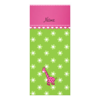 Flores rosadas conocidas personalizadas del verde diseño de tarjeta publicitaria
