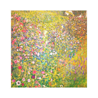 Flores rosadas de Gustavo Klimt Impresión En Lienzo