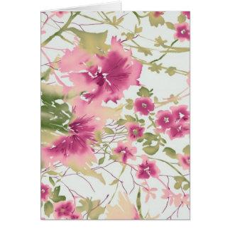 Flores rosadas de la acuarela tarjeta pequeña