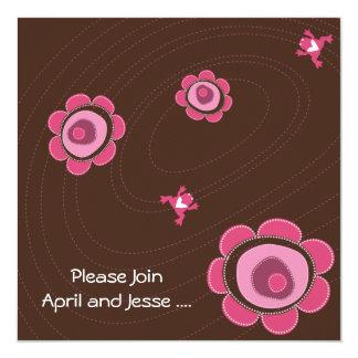 """Flores rosadas de la gota invitación 5.25"""" x 5.25"""""""