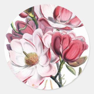 Flores rosadas de la magnolia pegatinas redondas
