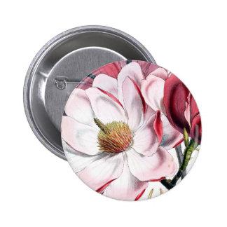 Flores rosadas de la magnolia pin redondo 5 cm