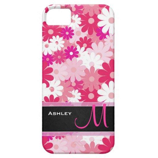 Flores rosadas de la margarita con el monograma de iPhone 5 cobertura