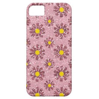 Flores rosadas de la margarita del brillo iPhone 5 protector