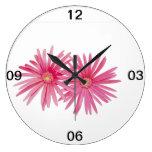 Flores rosadas de la margarita reloj de pared