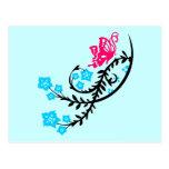 Flores rosadas de la mariposa y de la aguamarina tarjetas postales