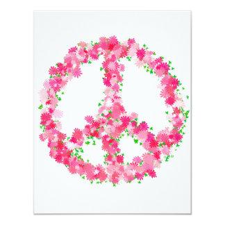 """Flores rosadas de la paz invitación 4.25"""" x 5.5"""""""