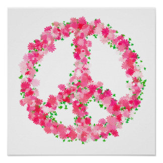 Flores rosadas de la paz póster