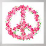 Flores rosadas de la paz posters