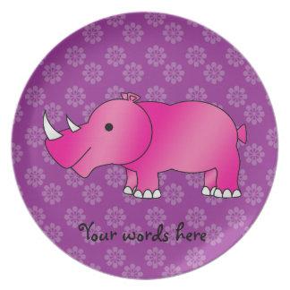 Flores rosadas de la púrpura del rinoceronte platos de comidas