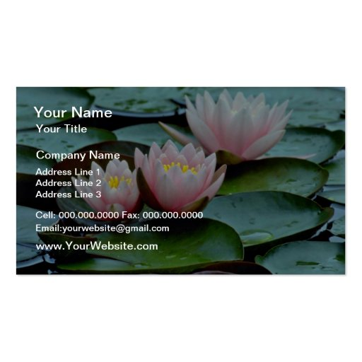 Flores rosadas de los lirios de agua tarjeta de negocio
