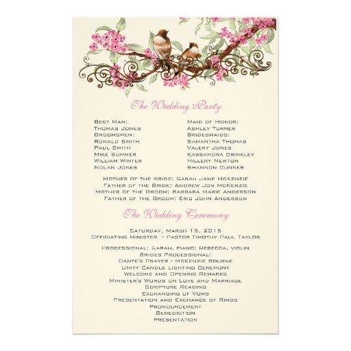 Flores rosadas de los pájaros del vintage que casa  papeleria