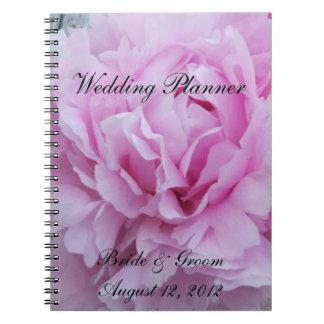 Flores rosadas de los Peonies que casan al planifi Cuadernos