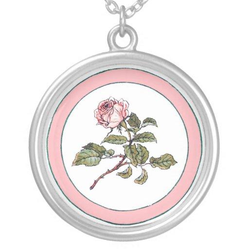 Flores rosadas de los rosas de Kate Greenaway del  Colgante Redondo