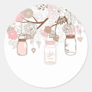 Flores rosadas de los tarros de albañil del país pegatina redonda