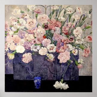 Flores rosadas de Mackintosh - impresión Posters