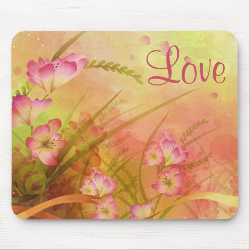 Flores rosadas del amor en el fondo floral Mouspad Alfombrilla De Ratones