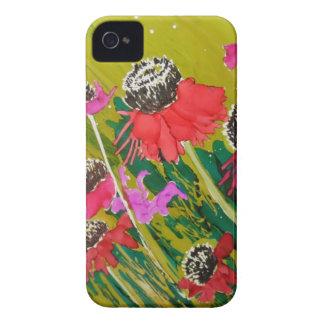 Flores rosadas del cono que se sacuden en la brisa iPhone 4 carcasas