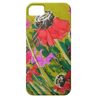 Flores rosadas del cono que se sacuden en la brisa iPhone 5 coberturas