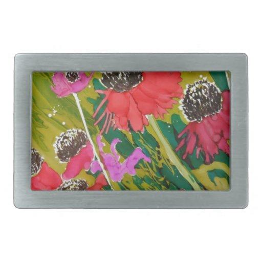 Flores rosadas del cono que se sacuden en la brisa hebillas cinturón rectangulares