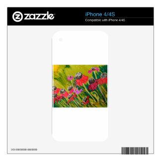 Flores rosadas del cono que se sacuden en la brisa skins para eliPhone 4S