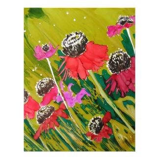 Flores rosadas del cono que se sacuden en la brisa plantilla de membrete