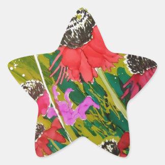 Flores rosadas del cono que se sacuden en la brisa pegatina en forma de estrella