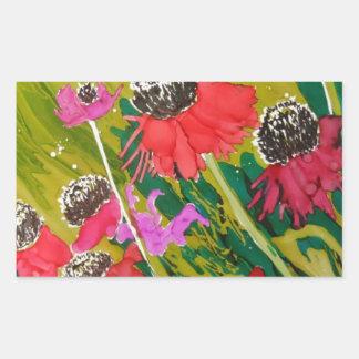 Flores rosadas del cono que se sacuden en la brisa pegatina rectangular