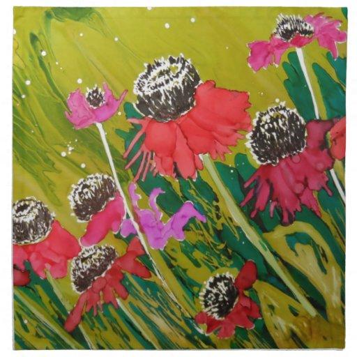 Flores rosadas del cono que se sacuden en la brisa servilleta