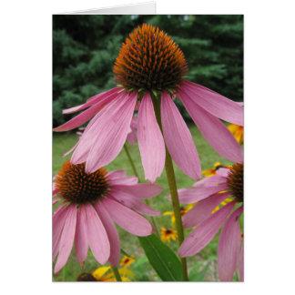 Flores rosadas del cono tarjeta de felicitación