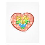 Flores rosadas del corazón comunicado personalizado