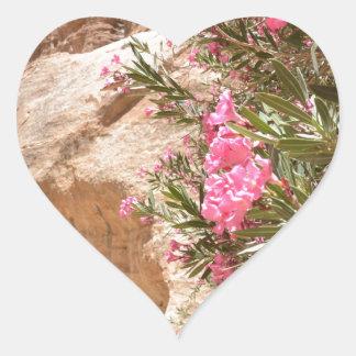 Flores rosadas del desierto pegatina en forma de corazón