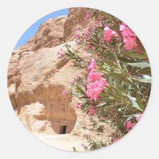 Flores rosadas del desierto pegatina redonda