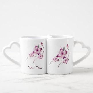 Flores rosadas del estilo del aerógrafo de la lava taza para parejas