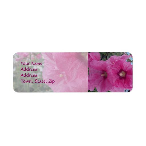 Flores rosadas del hibisco etiqueta de remite